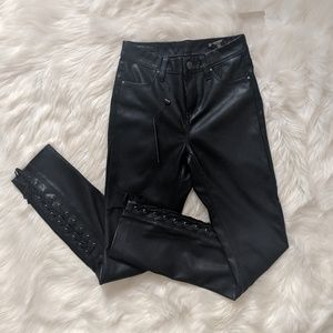 Blank NYC | lace up vegan leather skinny pant